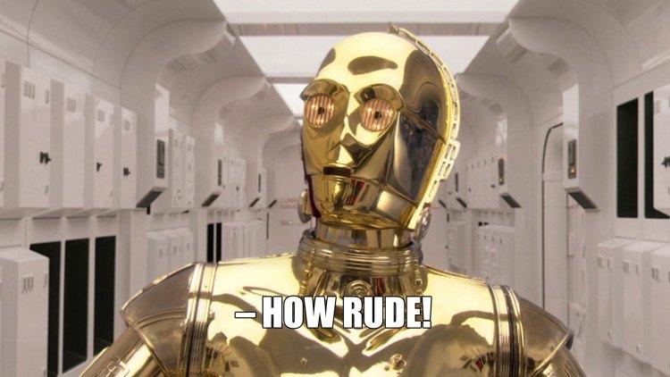 En lettere sjokkert C-3PO. (Foto: Lucasfilm / Disney).