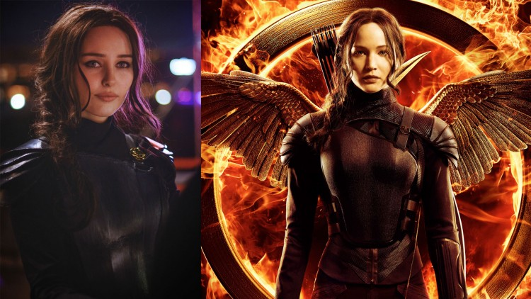Ida i Mockingjay-drakt, og Jennifer Lawrence i Mockingjay-drakt. (Foto: Starbit Cosplay / Lionsgate).