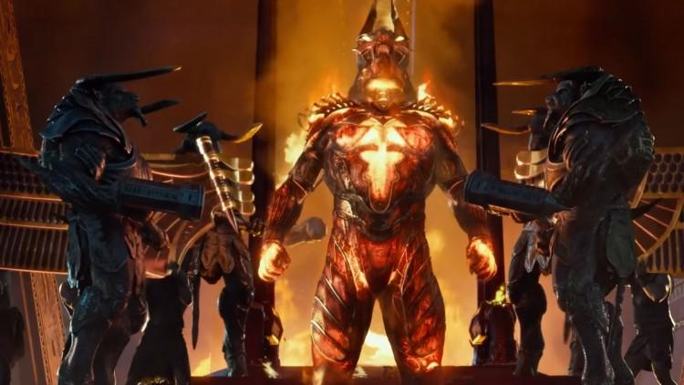 Nei, dette er ikke en cutscene fra World of Warcraft. Dette er Set som gjør seg klar til kamp i Gods of Egypt. (Foto: Skjermdump filmtrailer).