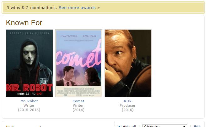 Her har dei aller fleste store film- og tv-folk fire prosjekt. Sam Esmail har framleis ikkje arbeidd på sitt fjerde. (Foto: IMDb)