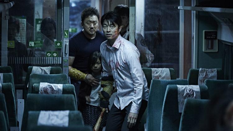 Seok Woo (Yoo Gong), Soo-an (Soo-an Kim) og Sang Hwa (Dong-seok Ma) i Train to Busan. (Foto: AS FIDALGO)