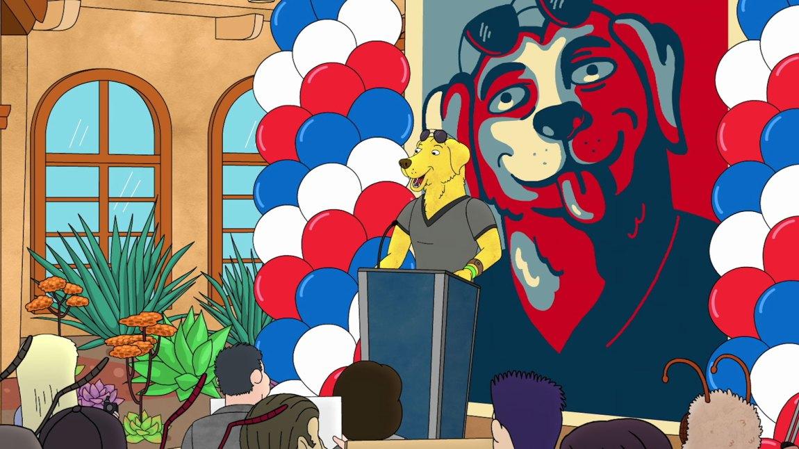 Mr. Peanutbutter sikter på å bli Californias neste guvernør. (Foto: Netflix)