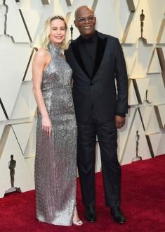 Brie Larson og Samuel L. Jackson. Foto: Jordan Strauss/Invision/AP