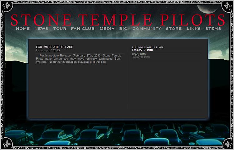 Meldinga som møtte fansen til Stone Temple Pilots-fansen på bandets hjemmeside. Foto: Skjermdump.