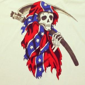 En av Yeezus-trøyene har et motiv av et skjelett omsvøpet i sørstatsflagget. Foto: virgilabloh/Instagram