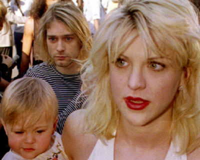Courtney Love, Kurt Cobain og datteren Frances Bean. Foto: NTB Scanpix
