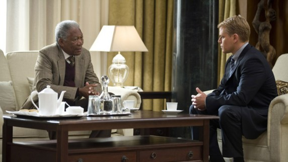 "Morgan Freeman og Matt Damon i ""Invictus - de uovervinnelige"" (Foto/Copyright: Sandrew Metronome)."