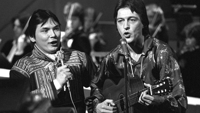 Sverre Kjeldsberg (t.h.) og Mattis Hætta var de norske finalistene i MGP 1980 med Sami Ædnan. (Foto: Paul Owesen/Scanpix)
