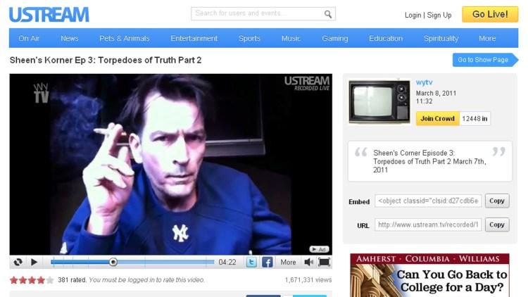 Charlie Sheen er ikke redd for å vise de noe mer slitne sidene av seg selv. (Skjermdump: ustream.com)