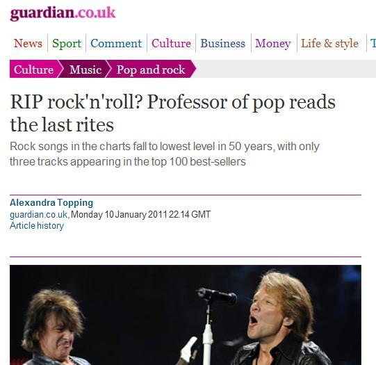 I Storbritannia diskuteres det om rocken rett og slett kan erklæres død. (Foto: Skjermdump/www.guardian.co.uk)