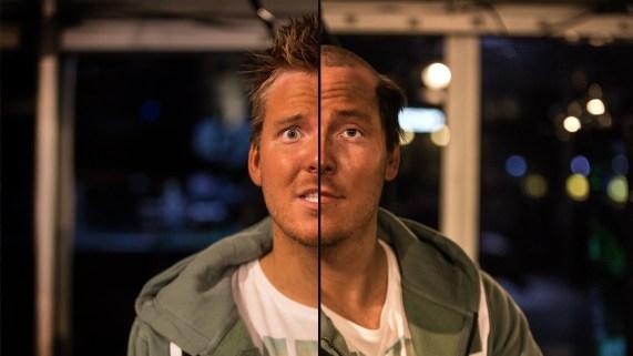 Før og etter! Niklas fikk gjennomgå skikkelig på lørdagen under P3aksjonen 2015. (Foto: Rashid Akrim, NRK P3).