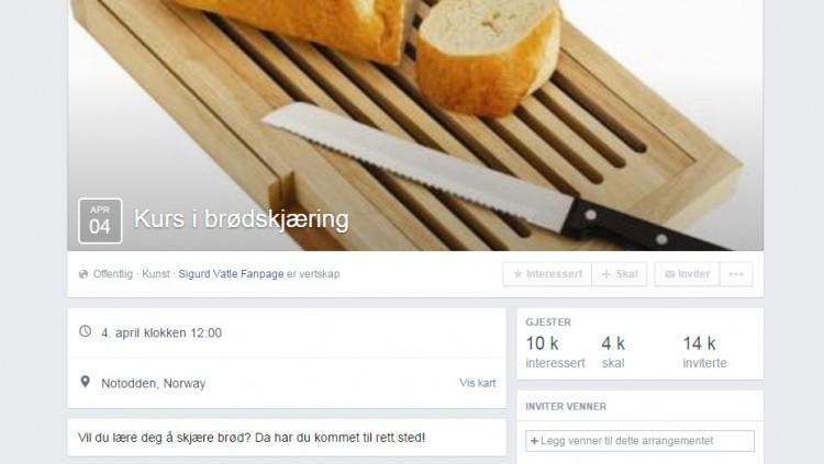 Brødskjæringskurset er åpent for alle. Du har vel meldt deg på? Foto: Skjermdump