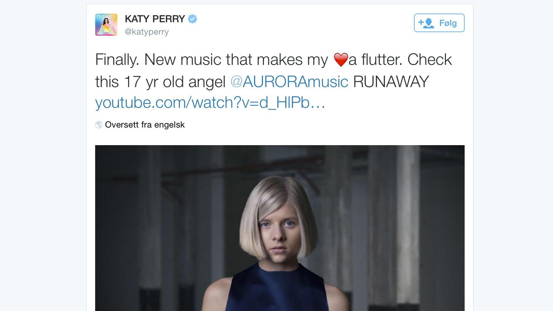 6e9716db Aurora Aksnes var så heldig å bli hyllet av selveste Katy Perry. Så enkelt  som dette kan det altså gjøres! Foto: NRK