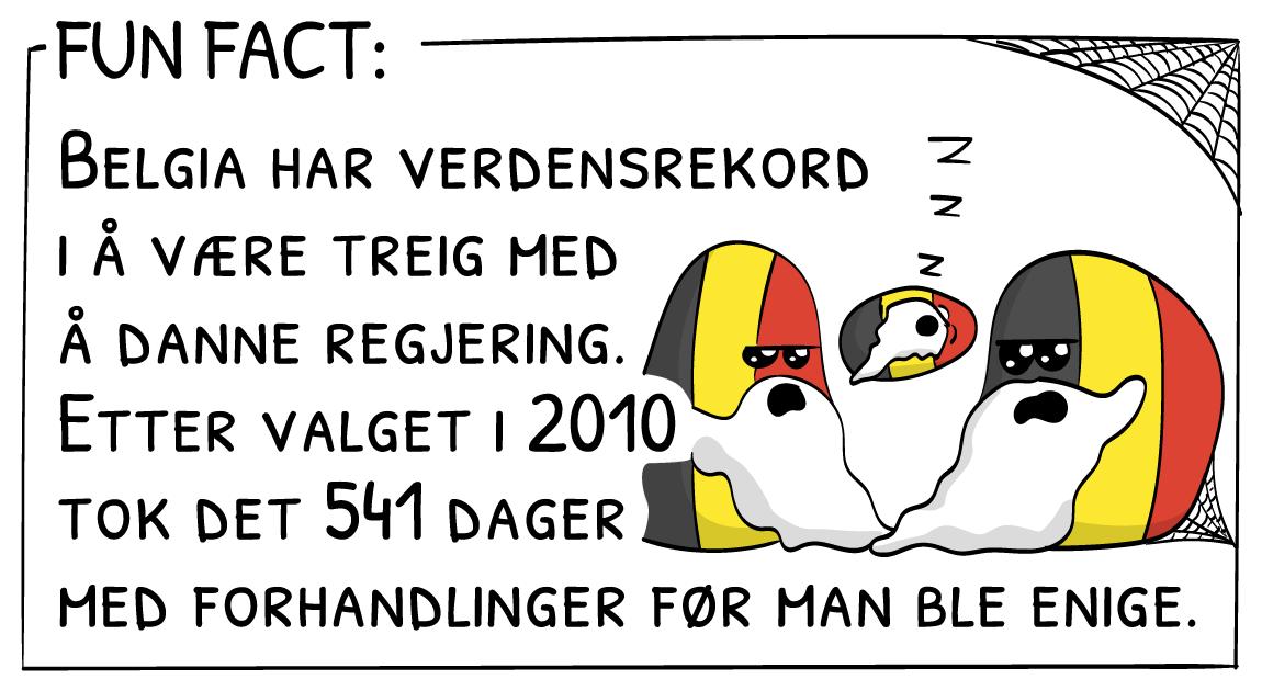 Fun fact: Belgia har verdensrekord i å være treig med å danne regjering. Etter valget i 2010 tok det 541 dager med forhandlinger før man ble enige.