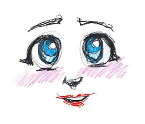Enkel illustrasjon av to store auger som ser håpefullt opp, med ein munn som smiler og rosa kinn.