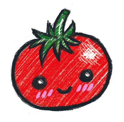 Ei teikning av ei tomat, som har eit ansikt som smiler og roser i kinnene.
