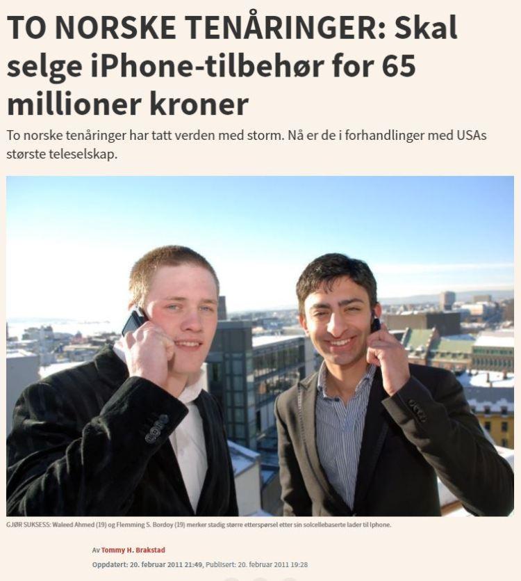 Bildet viser ein faksimilie av ein nettartikkel frå E24 i 2011, med eit bilde av gründerane som latar som om ein snakkar i telefonen, mens dei smiler til kamera.