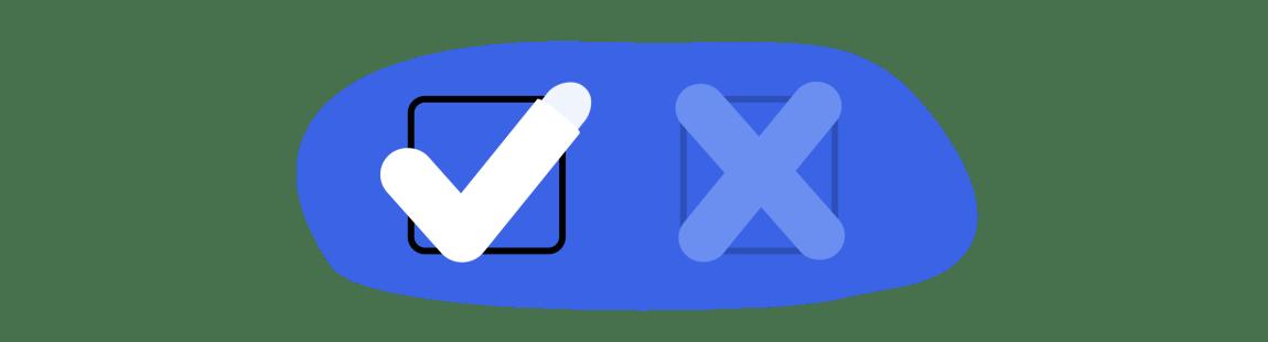 """Illustrasjonen viser to bokser, hvor en kan huke av for """"Ja"""" eller """"Nei"""". """"Ja"""" er haket av, hvor den ene halen ligner et penishode."""