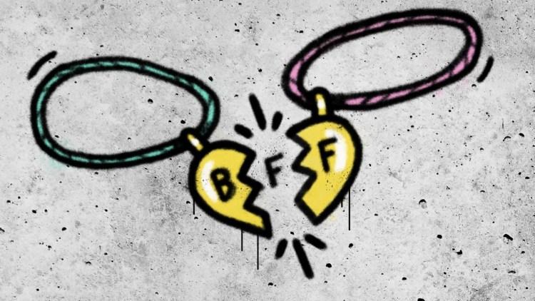 Illustrasjonen likner på grafitti som er spraya på ein murvegg. Grafittien viser to vennskapsbånd, med ein avstand mellom dei halve hjartene.