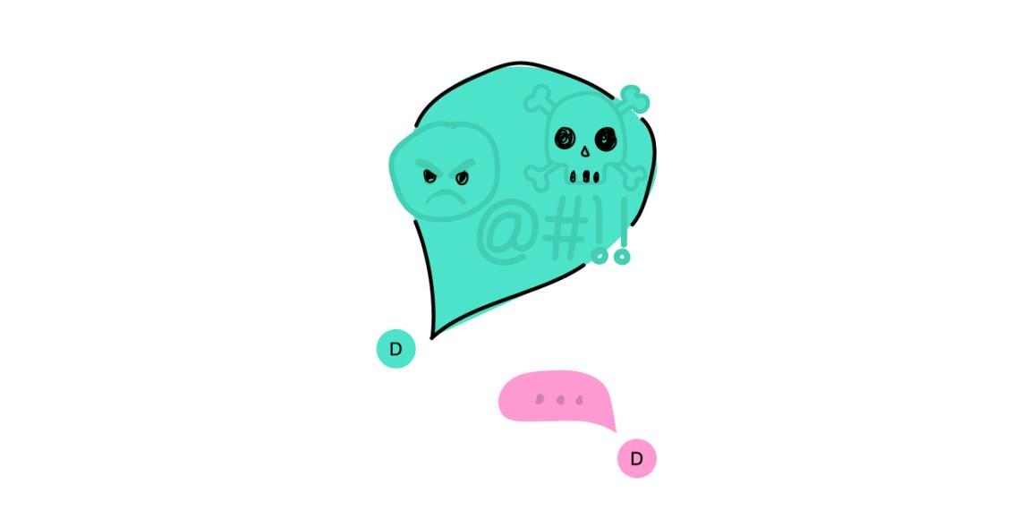 Teikning av ei grøn meldingsboble med sint emoji, daudinghovud, utropsteikn og svart sky. I andre enden ser ein ei rosa meldingsboble med prikkar i, som viser at nokon skriv eit svar.