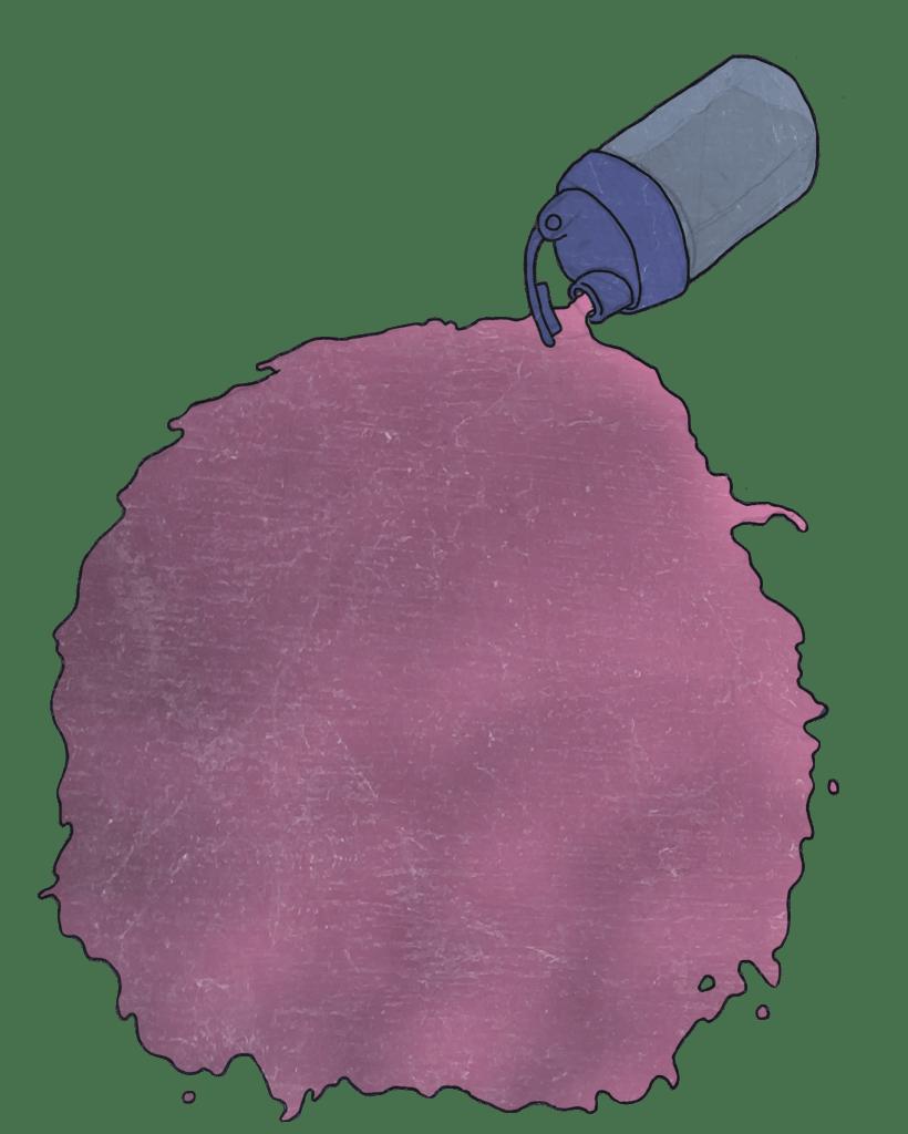 Illustrasjon av en flaske som ligger på bakken med lilla innhold som flyter ut av den. Det skal forestille en proteinshake i en typisk flaske som kan ristes og som brukes til trening.