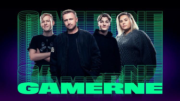 Et bilde av hovedpersonene i NRK-serien «Gamerne» og logoen til serien.