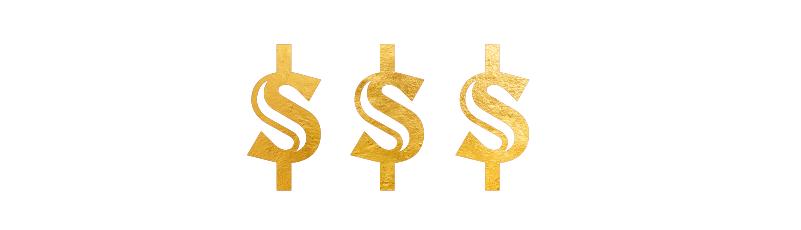 Illustrasjon av tre dollartegn i gull