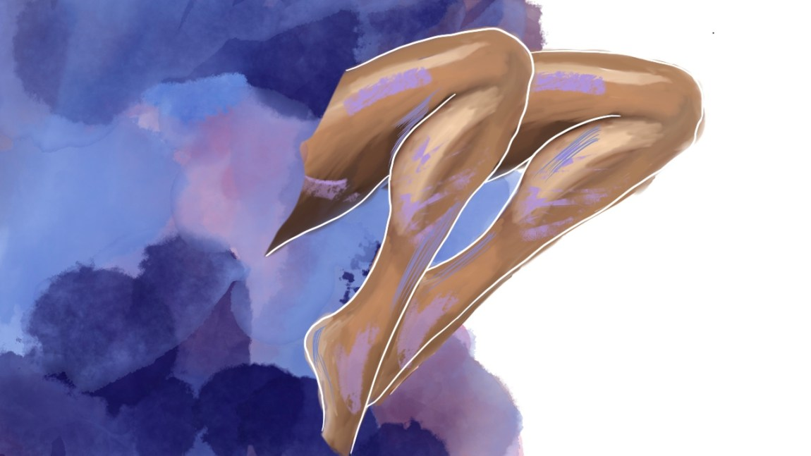 Illustrasjon av to bein som stikk ut frå noko som ligner ei lilla sky som har blåskjær i seg.