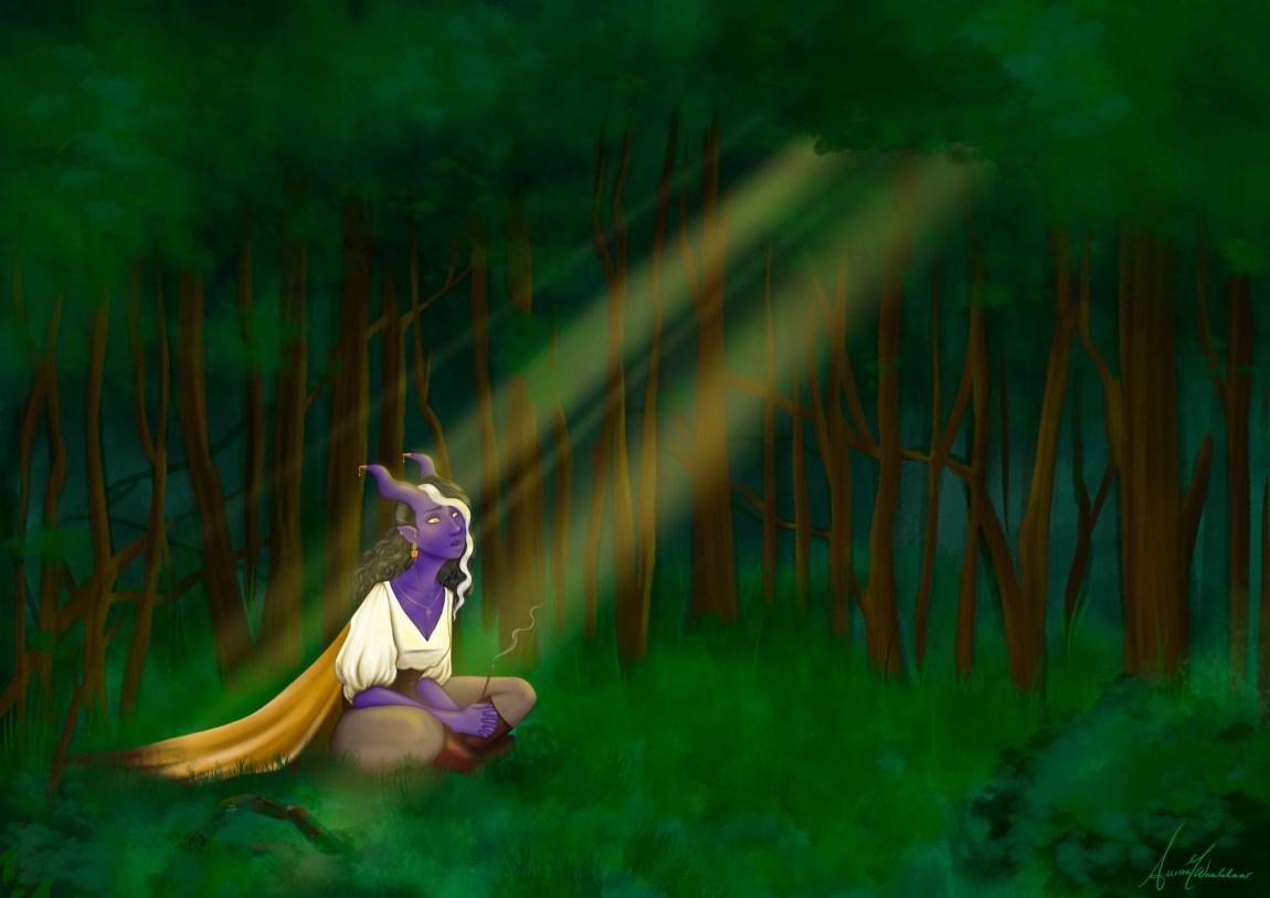Ein illustrasjon av ein lilla tiefling, som er ein djevelliknandes skapning. Tieflingen sitt i ein grøn skog og ser opp mot det som skal førestille lysstrålar.