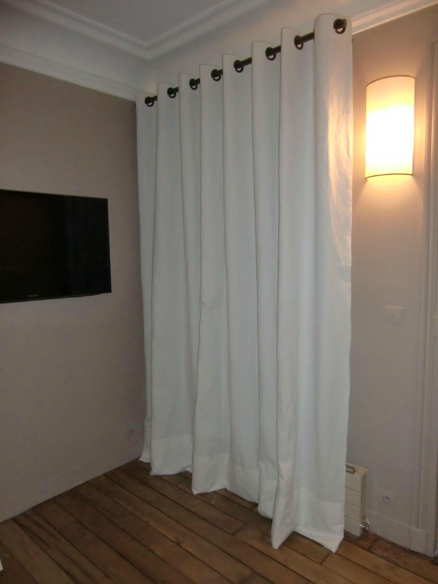 double rideaux en coton blanc avec