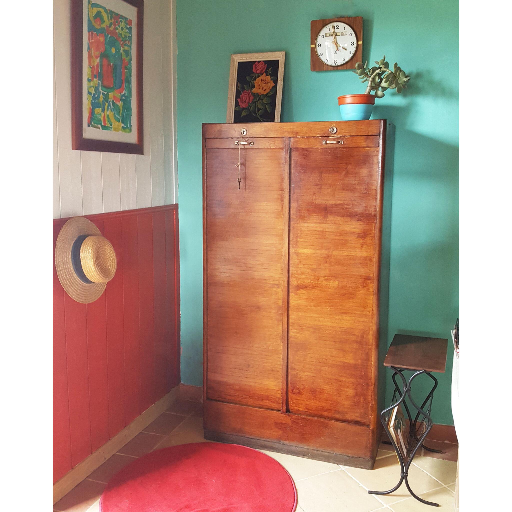 ancien meuble classeur double rideaux