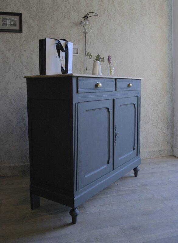 Buffet Ancien Gris Charbon Vendu Atelier Vintage