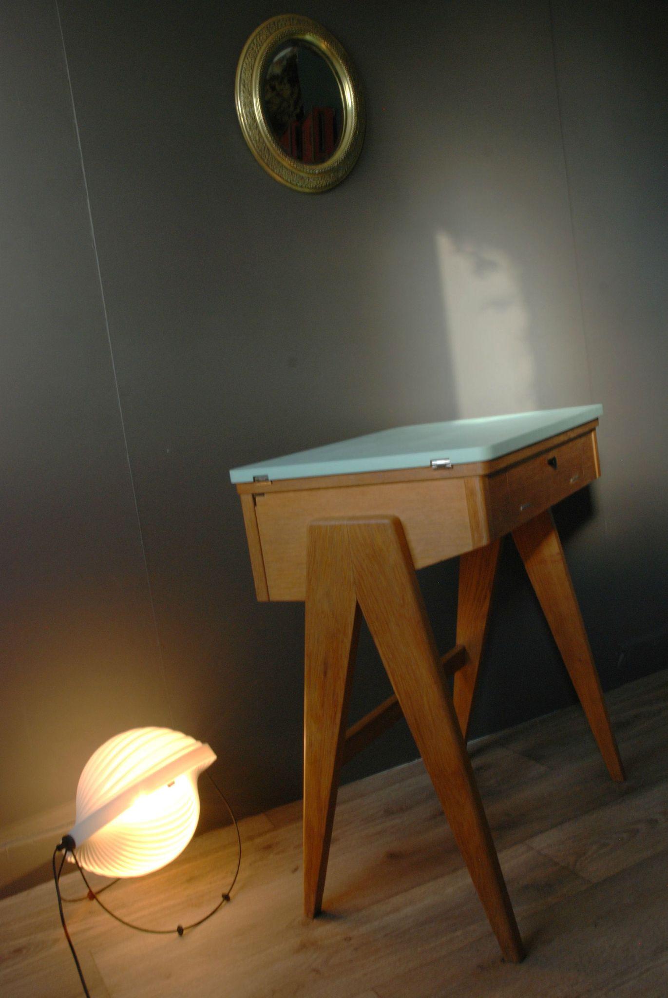 Bureau Pied Compas Vert Deau Atelier Vintage
