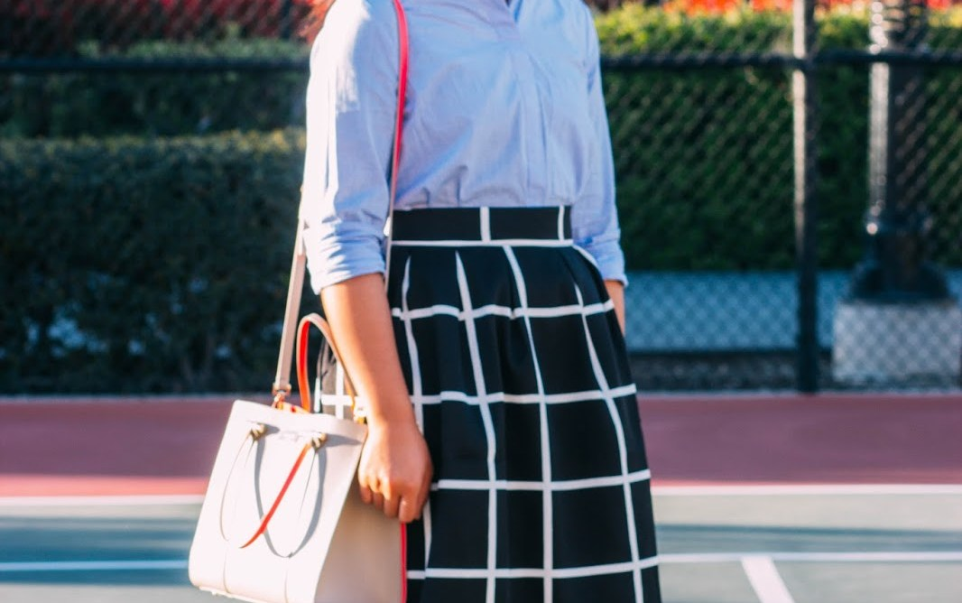 IMG 4319 1 - preppy in a grid midi skirt