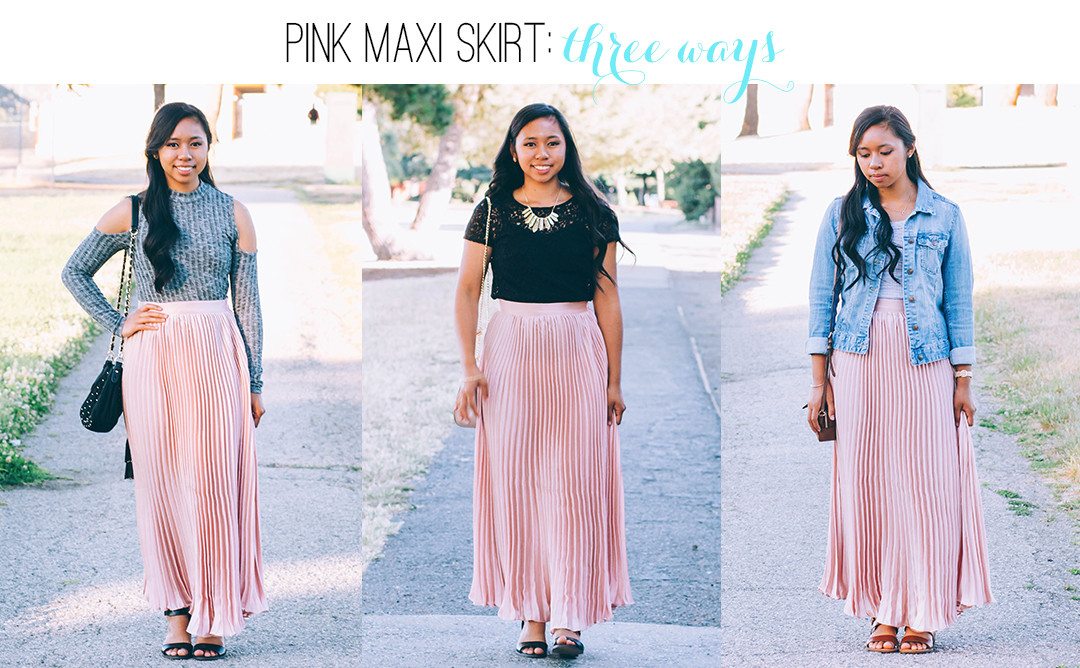3 Ways to Style a Pink Maxi Skirt