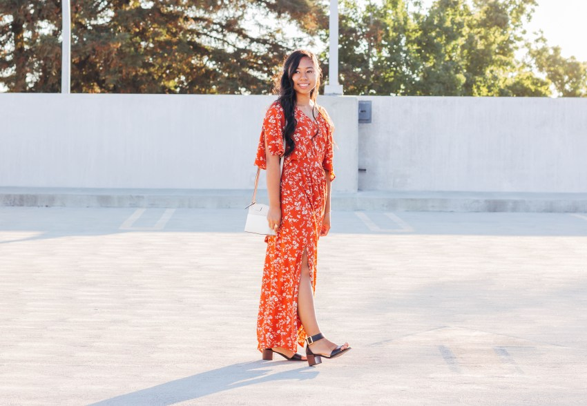 The perfect fall dress. Burnt orange, flower detail, tie back maxi dress with black heels. | In this post, Blaze Ann gives an honest life update, sharing where she's going to college, the last time she cried, etc.. on P31beauty.