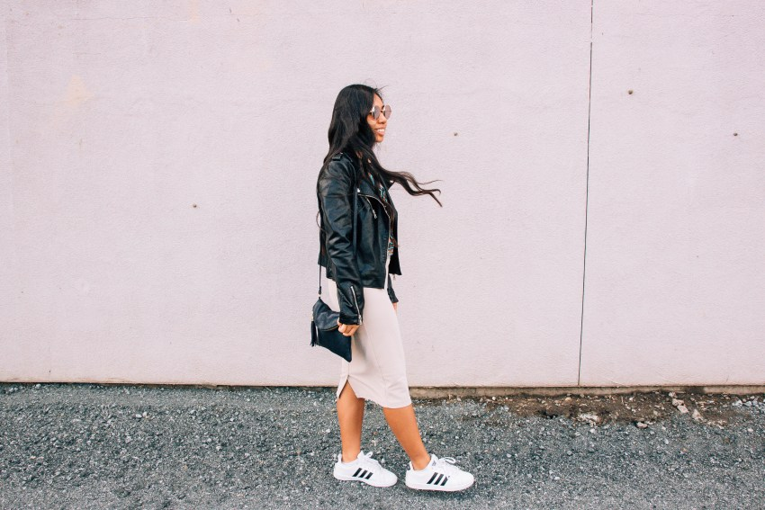 Leather jacket, embroidered top, pencil skirt, Adidas sneakers, street style