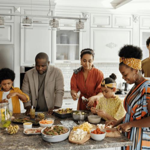 family gathered around food