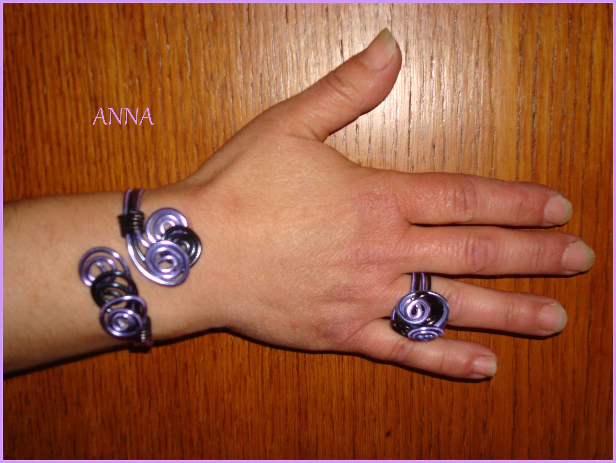 bracelet et bague en fil d aluminium