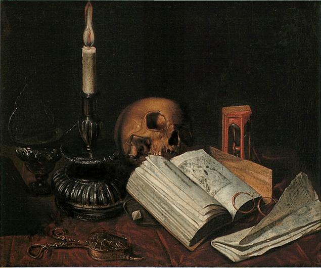 Vanité , bougeoir et livres
