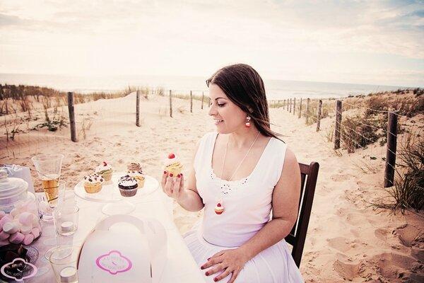Bijoux gourmands Boucles d'oreille et collier sautoir cupcake fraise