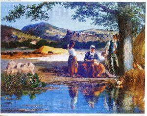 famille de paysans au repos au bord d'un étang