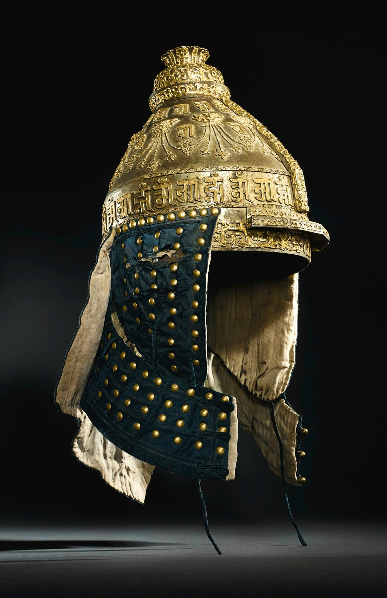 An Extremely Rare Imperial Parcel Gilt Iron Helmet Qing