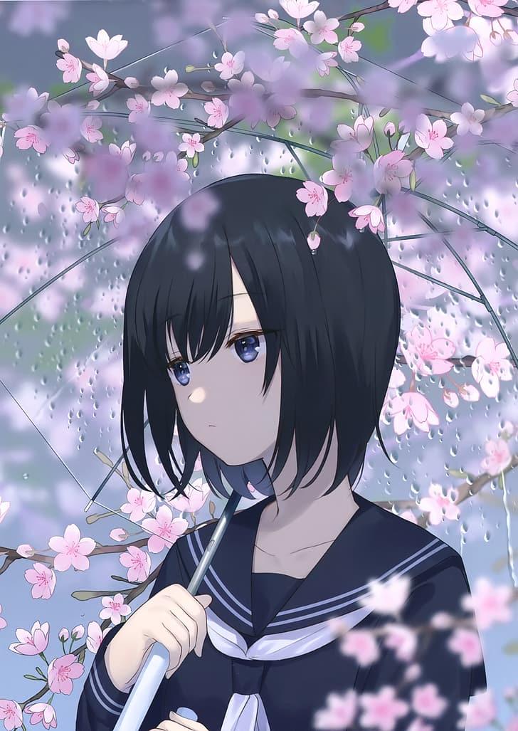 Anime Girls School Uniform Umbrella Sakura Blossom Hd Wallpaper Wallpaperbetter