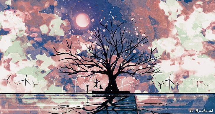 Anime Original Cherry Blossom Long Hair Scarecrow Tree Wind Turbine Hd Wallpaper Wallpaperbetter