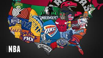 NBA ekipleri illüstrasyon, NBA, spor, yıldız, basketbol ile ABD haritası, HD masaüstü duvar kağıdı