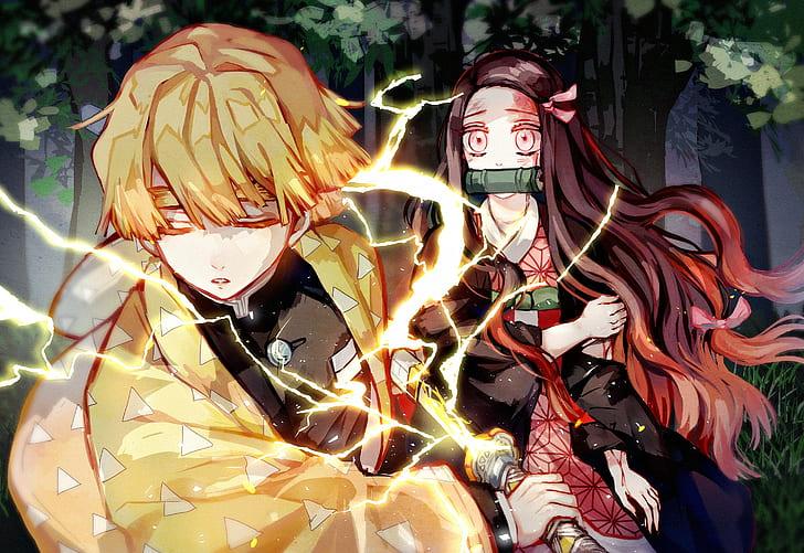 Anime Demon Slayer Kimetsu No Yaiba Nezuko Kamado Zenitsu Agatsuma Hd Wallpaper Wallpaperbetter