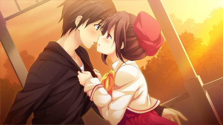 Anime Couple Romance Sunset Anime Hd Wallpaper Wallpaperbetter