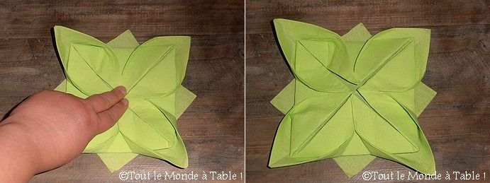 pliage de serviette en fleur de lotus
