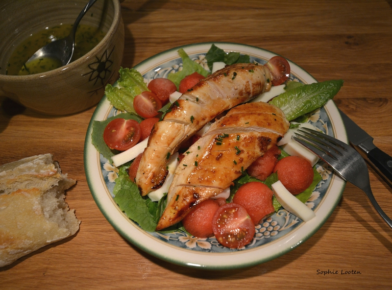 Salade poulet pasteque